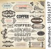 Collection of vintage elements for Coffee design: retro coffee badges and labels, old style floral ornaments, frames and borders | eps10 vector set - stock vector