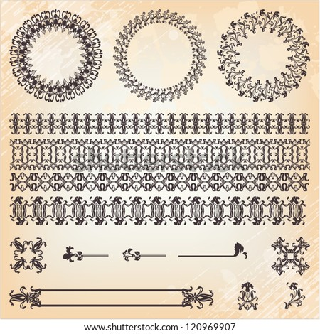 collection of vintage floral pattern elements - stock vector