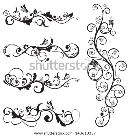 Collection of vintage floral silhouette designs with butterflies and swirls. This image is a vector illustration. - stock vector