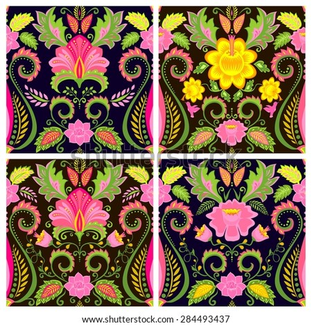 Collection of vintage floral silk wallpapers - stock vector