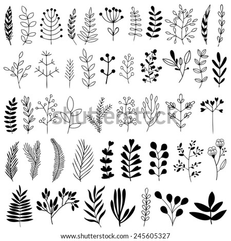 Collection of Vintage flowers. Greeting stylish illustration of flowers, berries. Good for cards or posters - stock vector