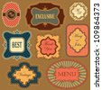 Collection of vintage frames and labels in retro style - stock vector
