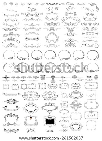 Collection of vintage frames, headers and titles - stock vector