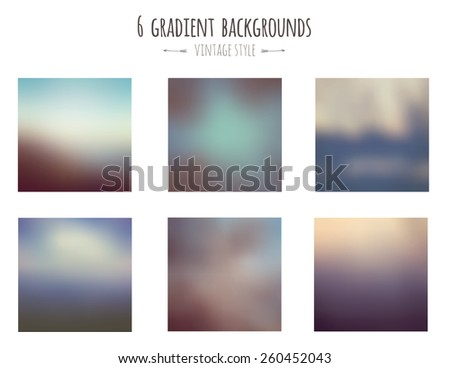 Collection of 6 vintage gradient backgrounds. Vector. - stock vector