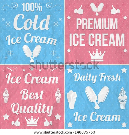 Collection of vintage ice cream labels  - stock vector