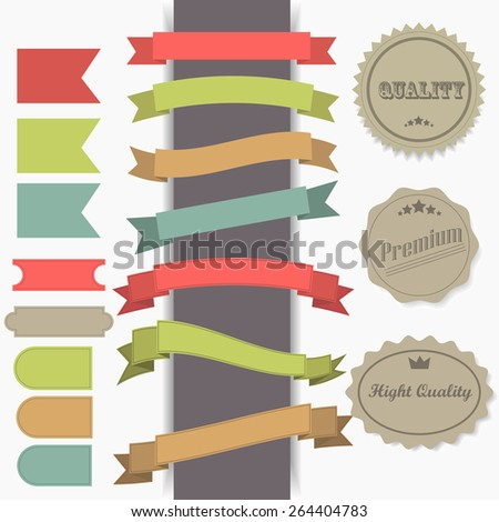 Collection of vintage labels and ribbons.Vector design elements  - stock vector