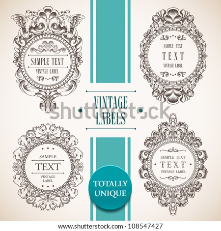 Collection of vintage labels. Vector - stock vector