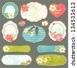 Collection of vintage labels with spring flowers and swallows with an empty seat for your text, vector set 1. - stock vector
