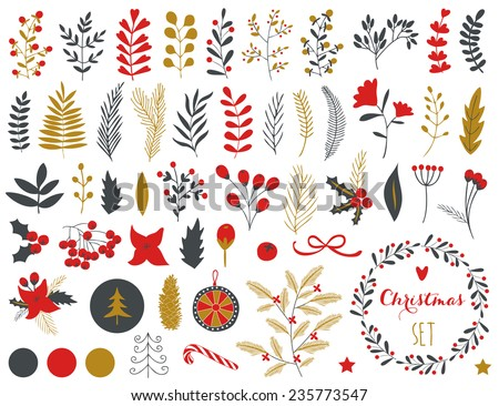 Collection of Vintage Merry Christmas And Happy New Year flowers. Greeting stylish illustration of winter romantic flowers, berries, leafs, wreaths, laurel. Good for cards or posters - stock vector