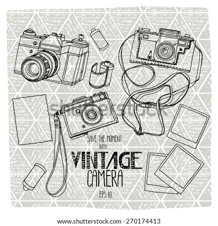 Collection of vintage reflex cameras with ethnic background. Vector design elements - stock vector