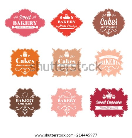 Collection of vintage retro bakery labels  - stock vector