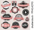 Collection of vintage retro food labels, badges and icons - stock vector