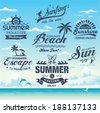 Collection of vintage retro grunge summer labels, labels, badges and icons - stock vector