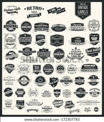 Collection of vintage retro labels, badges, stamps, ribbons, marks and typographic design elements, vector illustration - stock vector