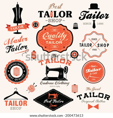 Collection of vintage retro tailor labels, badges and icons - stock vector
