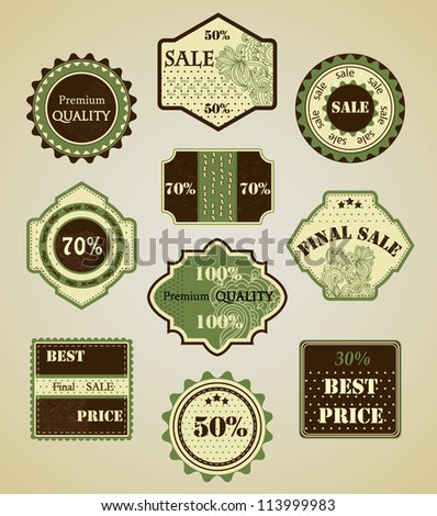 Collection of vintage sale labels, badges and icons - stock vector