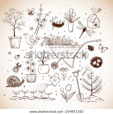 Collection of vintage spring doodle sketch elements: flowers, gardener's tool, bugs, spring trees, bird's nests with eggs. - stock vector