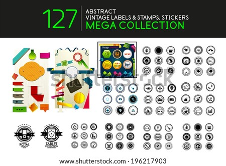 Collection of vintage stamps lables tags vector icons - stock vector