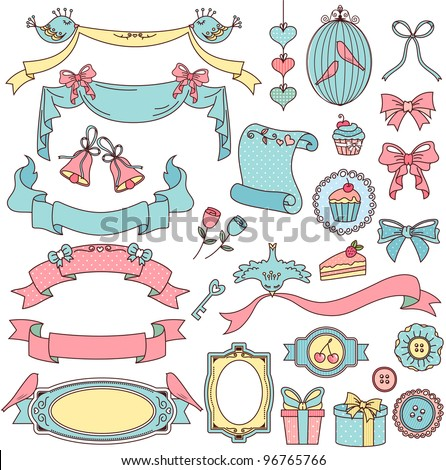 collection of vintage style design elements - stock vector