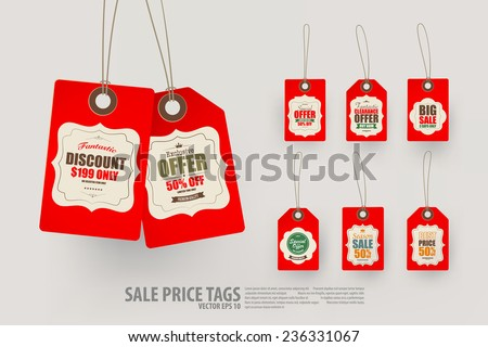 Collection of 8 Vintage Style Price Tags,Vector EPS10. - stock vector