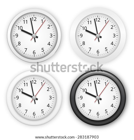 Collection of wall clocks. Four different style, white and black, Realistic vector illustration - stock vector