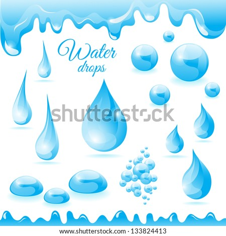 collection of water droplets of different shapes - stock vector