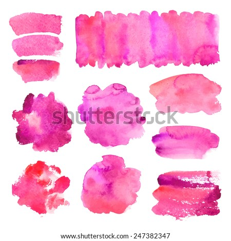 Collection of watercolor banners/ blots, isolated on white / Vector illustration - stock vector