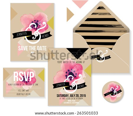 Collection of Wedding invitation card suite with romantic flower. Vector Templates: invitation, save the date card, RSVP card and stickers. - stock vector