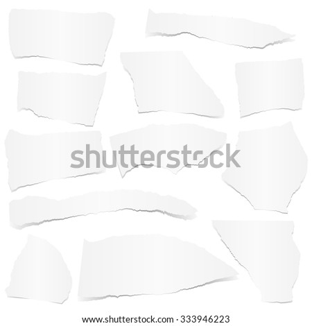 collection of white colored scraps of papers with shadow - stock vector