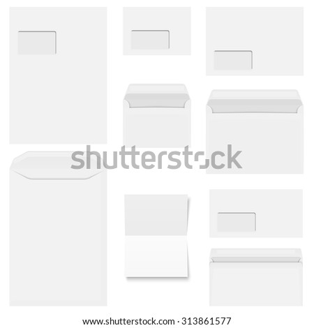 Collection of white envelopes with copy paper - stock vector