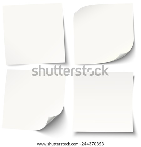collection of white sticky notes with different shadows - stock vector