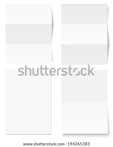 Collection of white writing paper - stock vector