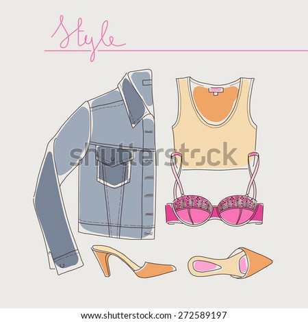 Collection of woman clothes, shoes and accessories lying organized on light background. Hand drawn style. Vector illustration eps 10 - stock vector