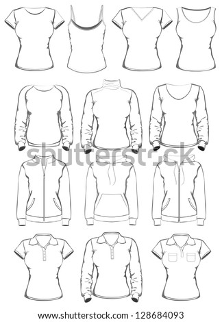 Collection of women clothes outline templates. vector illustration - stock vector