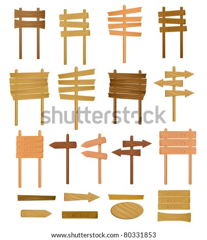 Collection of wooden sign. Vector illustration. - stock vector