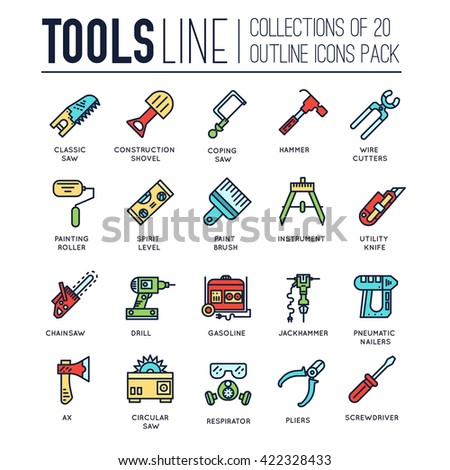 Collection of working tools icons items design. Construction instruments with any elements set. Diy, building, work outline illustrations vector background. Process image on thin line style concept - stock vector