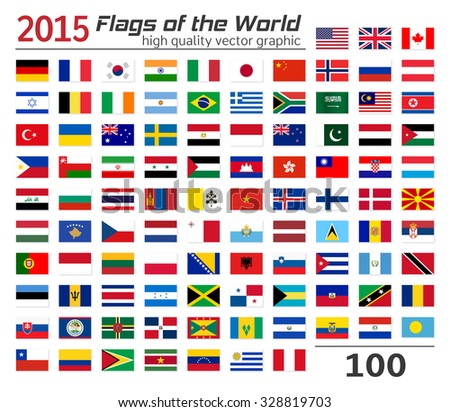 Collection of World flags on white background. Each flag is isolated on its own layer with the proper name. High quality vector concept. - stock vector