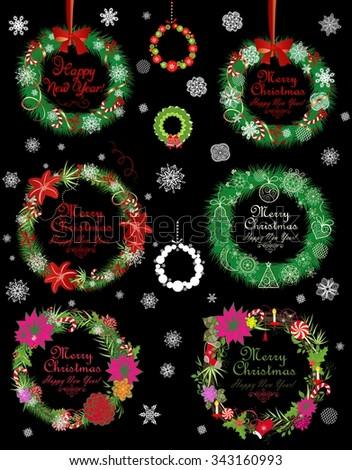 Collection of xmas wreath - stock vector