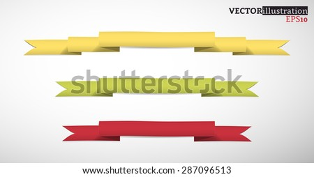Collection of yellow, green and red band, colored strips. Vector illustration. - stock vector