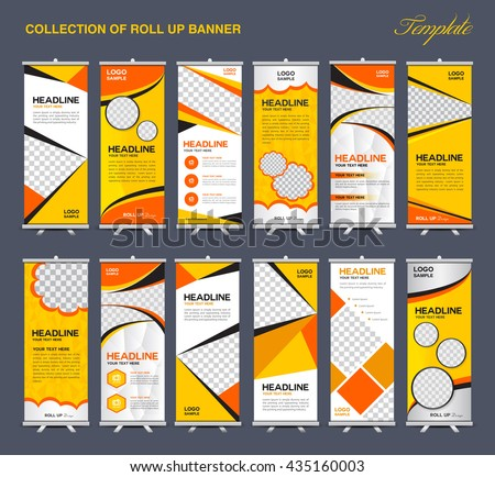 Collection of yellow Roll Up Banner Design polygon background, flyers artwork, advertisement, display template - stock vector
