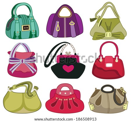 collection og fashion handbag (vector illustration) - stock vector