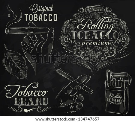 Collection on tobacco and smoking a pack of cigarettes vintage tobacco leaves hands with a cigarette stylized drawing with chalk on a blackboard - stock vector