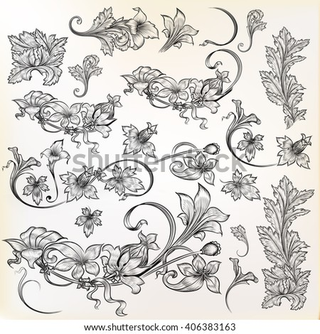 Collection or set of vector vintage design elements high detailed hand drawn flourishes with flowers - stock vector