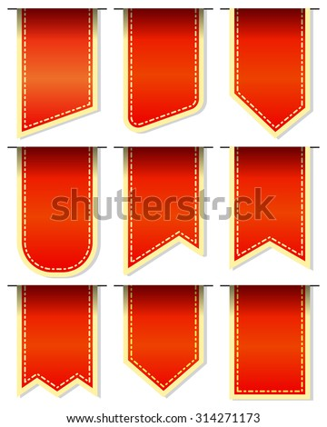 Collection red bookmarks isolated on white background - stock vector