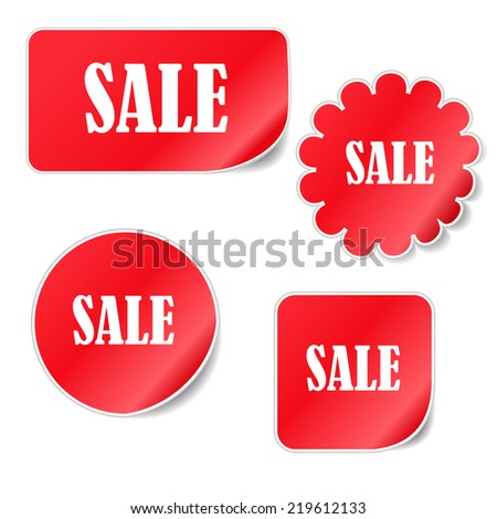 Collection red stickers with an inscription sale - stock vector