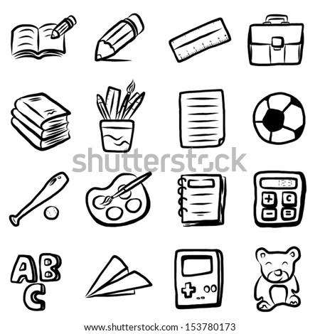 collection, set of education objects or icons / cartoon vector and illustration, hand drawn, sketch style, isolated on white background. - stock vector