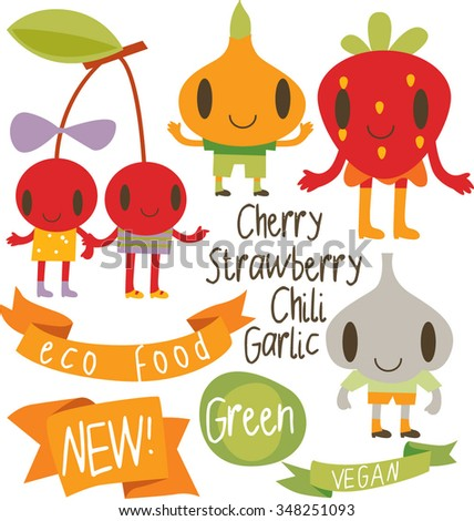 collection set of fruits and vegetables characters: onion, garlic, cherry, strawberry with stickers and ribbons and calligraphy - stock vector