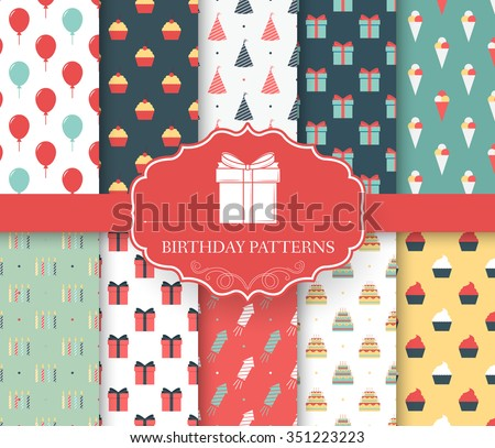 collection set of happy birthday seamless pattern. Balloon, cake, gifts, decoration, ice cream, fireworks with label logo concept. Vector abstract template for greeting card or invitation design  - stock vector