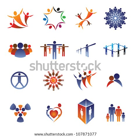 Collection set of icons and design elements related to community, office staff, family & business people. These colorful icons show concepts like teamwork, leadership, love, happiness, idea - stock vector