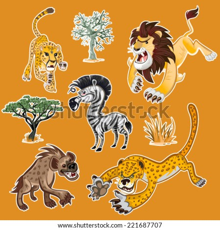 Collection Sets of African Animals & Tree, including zebra , lion , leopard , hyena , cheetah , zebra & African trees - stock vector
